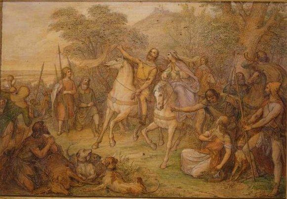 GM 142 Die Auffindung des Schleiers durch den Heiligen Leopold (Skizze) Ludwig Ferdinand Schnorr von Carolsfeld (1788-1853)