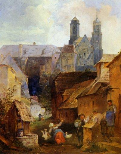 GM 521 Blick durch die Kreutzergasse auf die Stiftskirche Eduard Ritter (1808-1853)