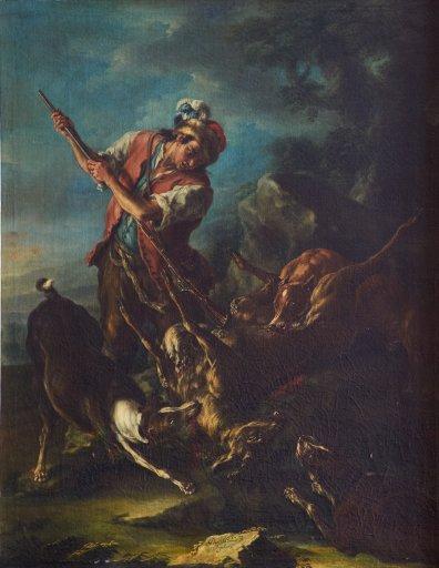 GM 246 Jäger mit erlegtem Reh und Hunden Domenico Brandi
