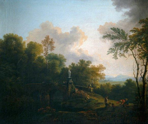 GM 255 Baumreiche Landschaft mit steinerner Brücke Christian Hilfgott Brand