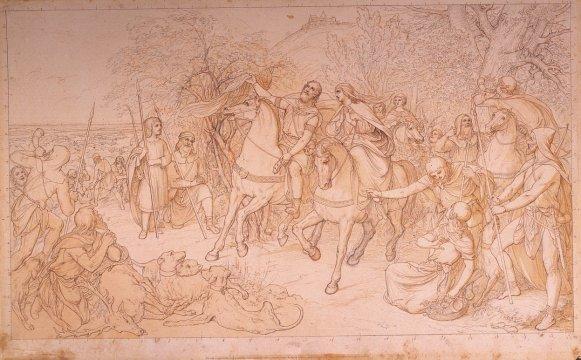 OG 2 Die Auffindung des Schleier durch den heiligen Leopold (Rötelskizze) Ludwig Ferdinand Schnorr von Carolsfeld